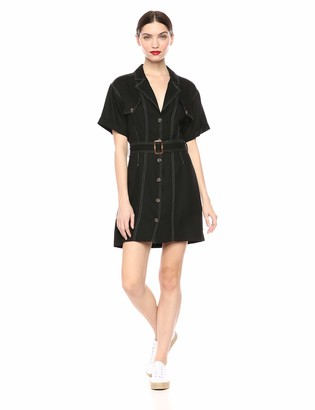 ASTR the Label Women's Freehand Ultility Short Sleeve Buttondown Mini Dress