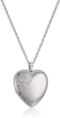 Sterling Silver Large Hand Engraved Floral Heart Pendant with Satin and Polished Finish Locket Necklace