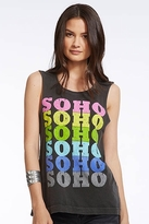 Chaser LA Soho Vintage Open Back Muscle Tank in Black