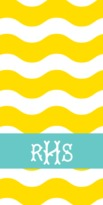 The Well Appointed House Personalized Beach Towel with Yellow Ric Rac Pattern