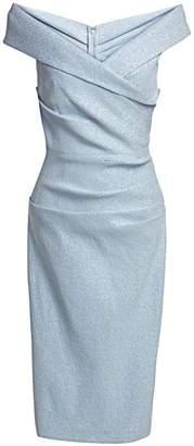 Teri Jon By Rickie Freeman Off-The-Shoulder Metallic Cocktail Dress