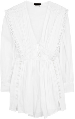 Isabel Marant Yaxo White Plisse-cotton Mini Dress