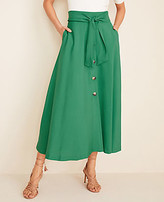 Ann Taylor Tall Tie Waist Button Pocket Maxi Skirt