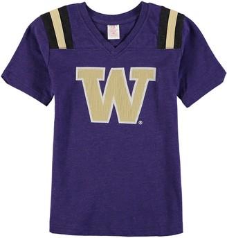 Colosseum Girls Youth Purple Washington Huskies Rugby V-Neck T-Shirt