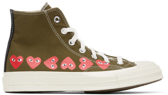 Comme des Garcons Khaki Converse Edition Multiple Hearts Chuck 70 High Sneakers