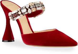 Alexandre Birman Riviera Velvet Jeweled Mule Pumps