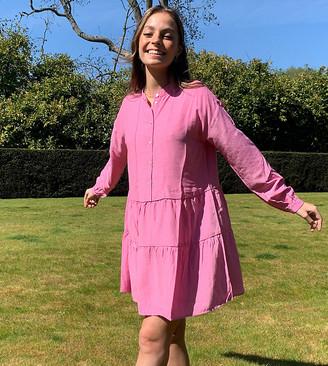 Vero Moda Petite smock mini dress with tiered skirt in pink