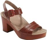 Earth Leather Platform Sandals - Oak Chestnut