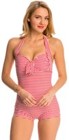 Seafolly Riviera Stripe Girl Leg Halter One Piece Swimsuit 8141518