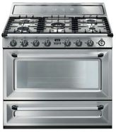 Smeg Victoria 36-Inch Free-Standing Dual-Fuel Range in Stainless Steel