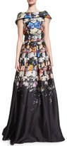 Naeem Khan Folded Cap-Sleeve Degrade Organza Gown, Black/Blue
