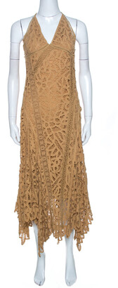 Ralph Lauren Tan Brown Silk Lined Lace Halter Dress M