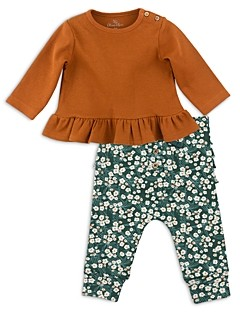 Oliver & Rain Girls' Ruffle Tee & Floral Print Leggings Set - Baby