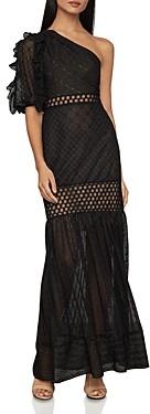 BCBGMAXAZRIA Honeycomb Tulle One-Shoulder Dress