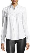 RED Valentino Long-Sleeve Button-Front Stretch-Poplin Bib Shirt