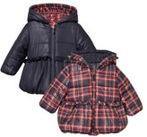 Mayoral Red and Navy Tartan Frill Detail Reversible Hooded Coat
