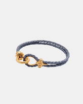 Men's Grey Leather Bracelet With Gold Hook Clasp