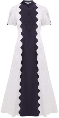 Valentino Damier Scalloped-panel Cotton-organdy Midi Dress - Womens - White Navy