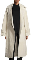 The Row Belted Suede Oversized Trenchcoat, Ivory
