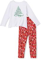 Beary Basics Red 'Merry X-Mas' Long-Sleeve Tee & Leggings - Toddler & Girls
