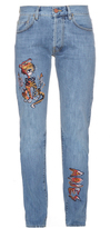 Aries Lily cat-embroidered jeans