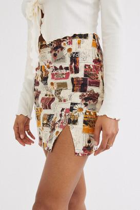 Urban Outfitters Darren Notched Linen Mini Skirt