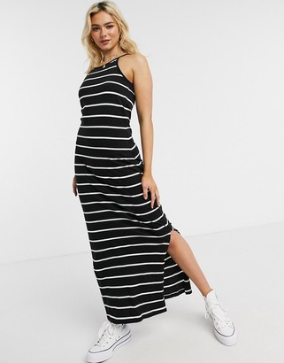 Only May sleeveless maxi dress in black stripe