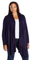 Melissa McCarthy Women's Plus Size Mixed Media Waterfall Cardigan