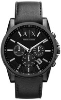 Armani Exchange Men's Chronograph Leather Strap Watch