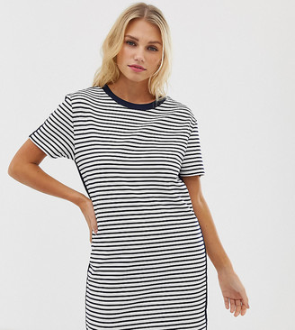 Esprit stripe jersey t-shirt dress in white and navy