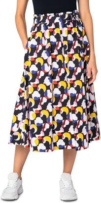 Akris Punto Belted Floating Dot Midi Skirt