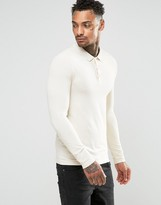 Asos Extreme Muscle Long Sleeve Polo In Off-White