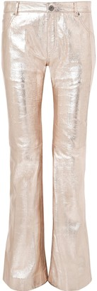 Chloé Metallic Textured-leather Bootcut Pants