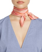 Echo Rows Striped Silk Skinny Scarf