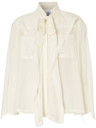Burberry Ivory Ruffled Pussy Bow Blouse