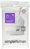 Simplehuman Code P Plastic Custom Fit Bin Liner, Pack of 20, White