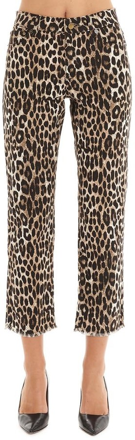 MICHAEL Michael Kors Leopard Print Fringed Hem Cropped Jeans