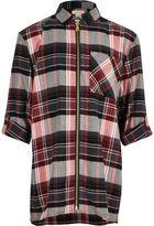 River Island Girls red check longline zip shirt