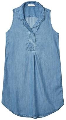 Mod-o-doc Crosshatch Tencel Denim Sleeveless Collared Dress (Blue) Women's Clothing
