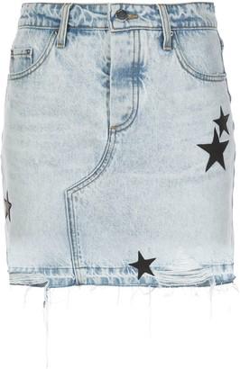 Amiri Appliqued Star Denim Skirt