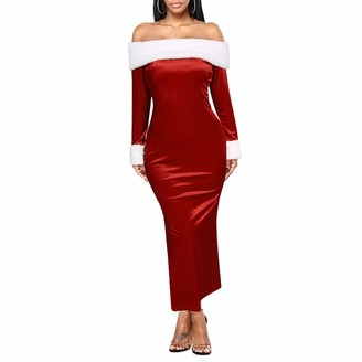 CHRONSTYL Women's Dress Long Sleeve Christmas Dress Female Formal Dress Boat Neck Party Dress One-Piece for Women (Red S)