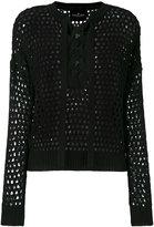 Designers Remix lace-up open knit blouse - women - Cotton - XS