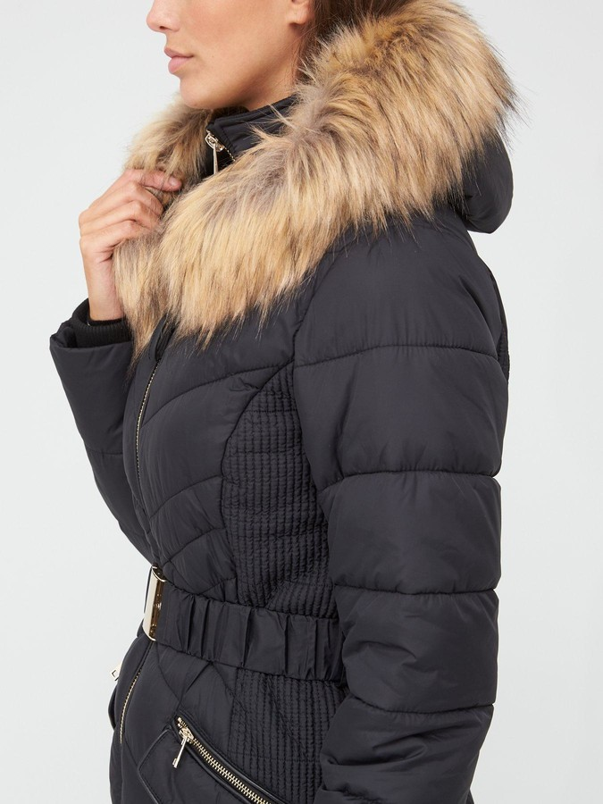 Thumbnail for your product : Very Premium Double Placket Padded Coat with Belt - Black