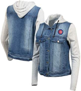 Antigua Women's Blue/Heathered Gray Chicago Cubs Swag Jean Bomber Jacket