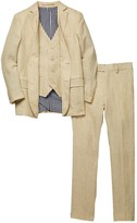 Isaac Mizrahi Three Piece Linen Blend Suit (Little Boys & Big Boys)