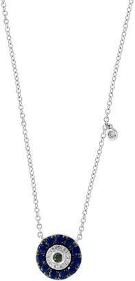 Effy 14K White Gold, White & Black Diamond & Sapphire Disc Necklace