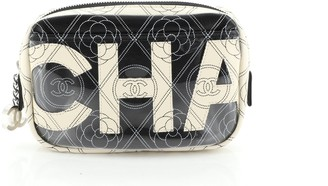 Chanel Logo Camera Case Clutch Printed Coated Canvas