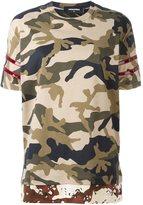DSQUARED2 camouflage stripe accent T-shirt - women - Cotton - XS