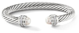 David Yurman Cable Classics Sterling Silver, Cultured Freshwater Pearl & Diamond Bracelet