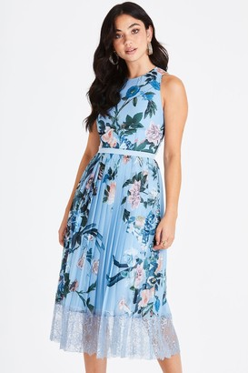 Little Mistress Rori Blue Floral Lace Midi Dress